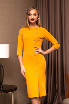 Office dress mustard pencil midi with button accessories