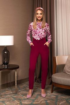 Pantaloni PrettyGirl zmeura office din stofa conici cu talie inalta accesorizat cu o fundita