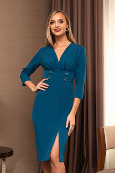 Elegant with button accessories 3/4 sleeve turquoise dress