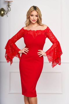 Dress StarShinerS red midi occasional bell sleeves with laced sleeves