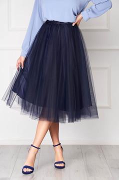 Fusta StarShinerS albastru-inchis eleganta midi in clos din tul cu talie inalta