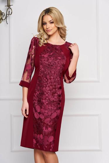 Rochie visinie eleganta midi cu un croi drept din stofa cu aplicatii de dantela