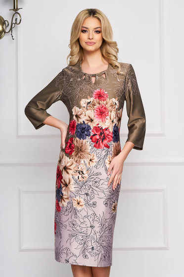 Rochie khaki office midi cu un croi drept cu imprimeu floral si aplicatii metalice