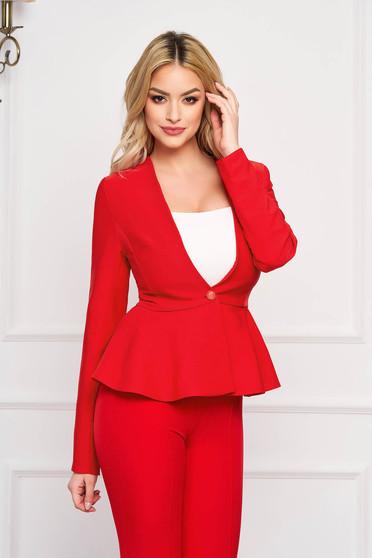 Sacou StarShinerS rosu elegant scurt din stofa usor elastica cu maneci lungi captusit pe interior