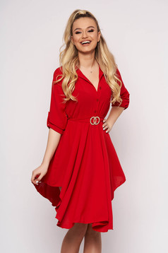 Red dress cloche asymmetrical with button accessories daily