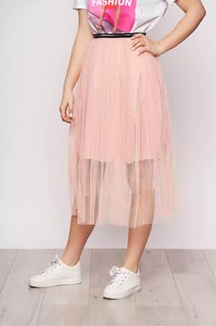 Fusta SunShine roz prafuit casual midi in clos din tul cu elastic in talie si captusita pe interior