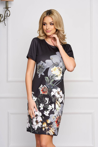 Rochie SunShine neagra eleganta midi cu un croi drept din stofa usor elastica cu imprimeuri florale