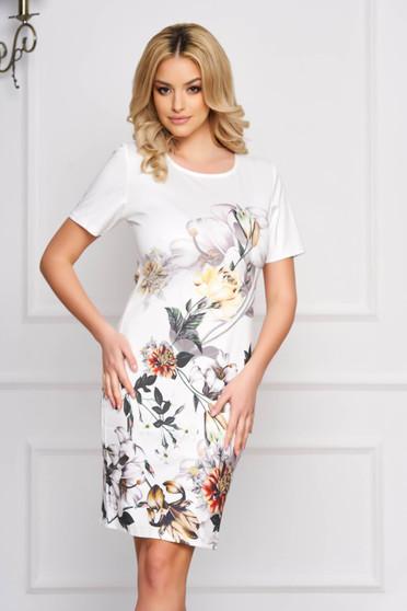Rochie SunShine alba eleganta midi cu un croi drept din stofa usor elastica cu imprimeuri florale