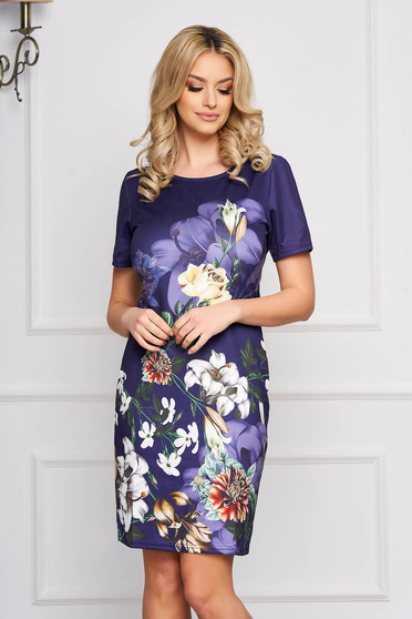 Rochie SunShine albastru-inchis eleganta midi cu un croi drept din stofa usor elastica cu imprimeuri florale