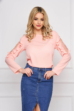 Peach women`s blouse from veil fabric elegant with lace details flared short cut