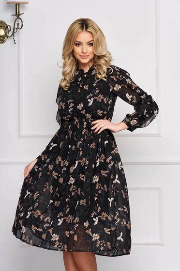 Rochie SunShine neagra eleganta midi in clos din voal cu elastic in talie si imprimeu floral