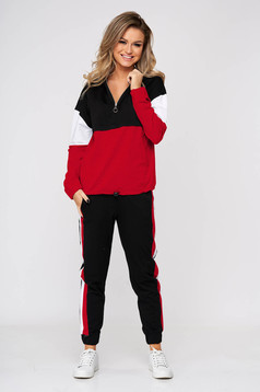 Red sport 2 pieces cotton sporty 2 pieces with pockets