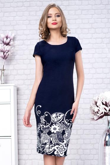 Rochie albastru-inchis eleganta midi tip creion din material reiat cu imprimeu floral si maneca scurta