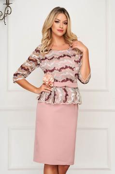 Lightpink dress occasional accessorized with belt pencil peplum cloth