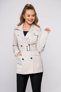 Cream casual straight short cut coat from slicker fabric