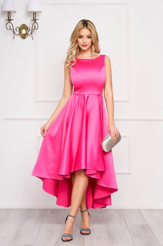 Dress StarShinerS fuchsia midi occasional cloche from satin asymmetrical with cut back
