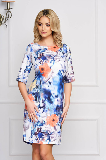 Rochie StarShinerS alba eleganta midi cu un croi drept din stofa cu imprimeuri florale