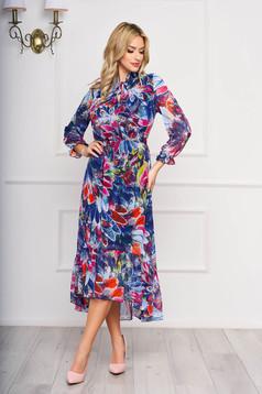 Rochie albastra asimetrica eleganta din voal cu imprimeuri florale cu elastic in talie