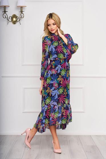 Rochie roz asimetrica eleganta din voal cu imprimeuri florale si cu elastic in talie