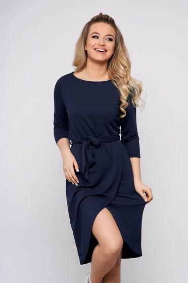 Rochie Top Secret albastru-inchis asimetrica de zi cu elastic in talie si maneci lungi