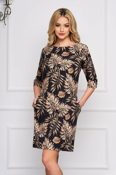 StarShinerS black dress cloth a-line with floral prints short cut elegant