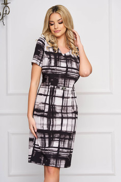 StarShinerS black dress with graphic details straight elegant midi cloth