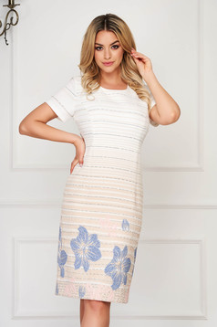 StarShinerS cream dress straight with floral prints midi elegant