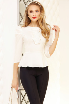 White women`s shirt with ruffle details peplum tented short cut office cotton