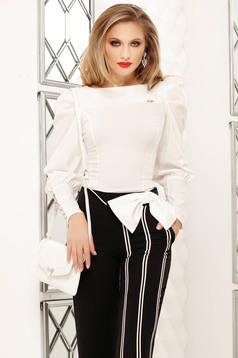 White women`s shirt office tented short cut high shoulders cotton