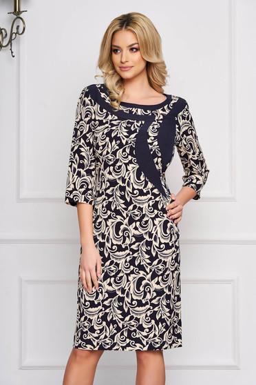 Rochie albastru-inchis eleganta midi din stofa cu un croi drept si imprimeuri grafice