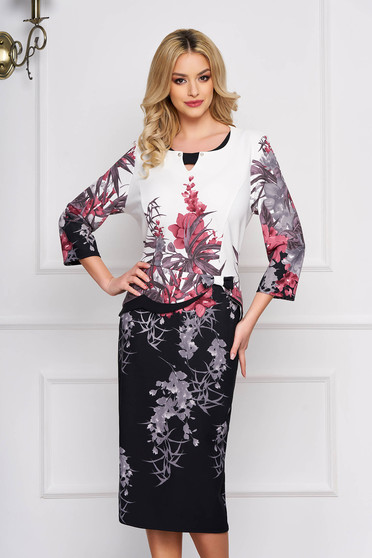 Rochie alba eleganta midi cu un croi drept cu imprimeuri florale cu peplum si accesorizata cu o fundita