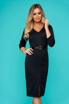 Darkblue dress midi daily pencil frontal slit accessorized with belt