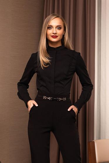 Camasa dama PrettyGirl neagra office mulata scurta se inchide cu nasturi cu maneci lungi