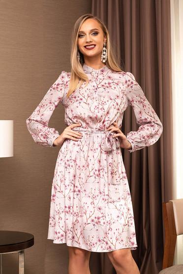 Rochie PrettyGirl roz prafuit din voal office midi in clos cu imprimeuri florale accesorizata cu cordon