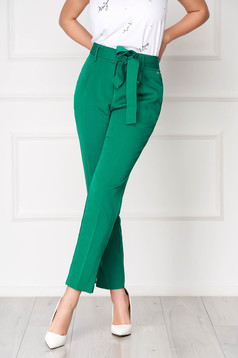 Darkgreen high waisted conical office trousers with pockets