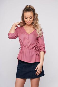 Bluza dama Top Secret roz casual scurta cu croi larg cu elastic in talie cu maneci trei-sferturi accesorizata cu nasturi