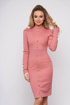 Lightpink dress elegant short cut pencil cotton with turtle neck high shoulders