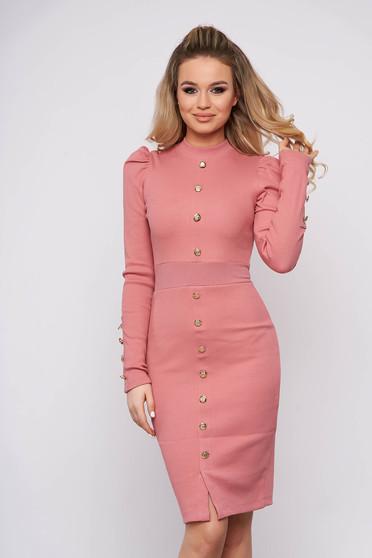 Rochie SunShine roz prafuit eleganta scurta de zi tip creion din bumbac pe gat si cu umeri cu volum