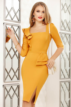 Yellow dress midi pencil office with ruffle details cloth