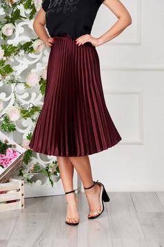 StarShinerS burgundy skirt elegant cloche midi from satin folded up