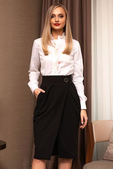 Fusta PrettyGirl neagra eleganta office midi petrecuta cu buzunare