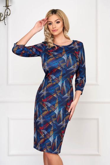 Rochie albastru-inchis eleganta midi tip creion din bumbac cu maneca lunga si imprimeuri florale