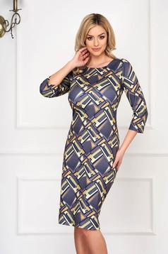 Grey dress elegant midi pencil cotton long sleeve