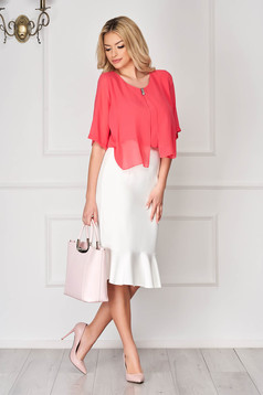 Coral office asymmetrical flared women`s blouse short cut from veil fabric with metal accessories