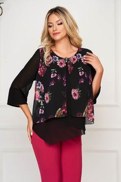 Bluza dama neagra eleganta scurta cu croi larg cu imprimeu floral cu maneci clopot suprapunere cu voal cu accesoriu metalic
