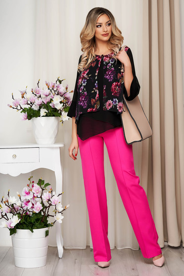 Black elegant voile overlay women`s blouse bell sleeves flared short cut with floral print with metalic accessory