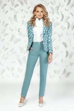 Pantaloni PrettyGirl turcoaz eleganti cu un croi drept cu talie medie cu buzunare