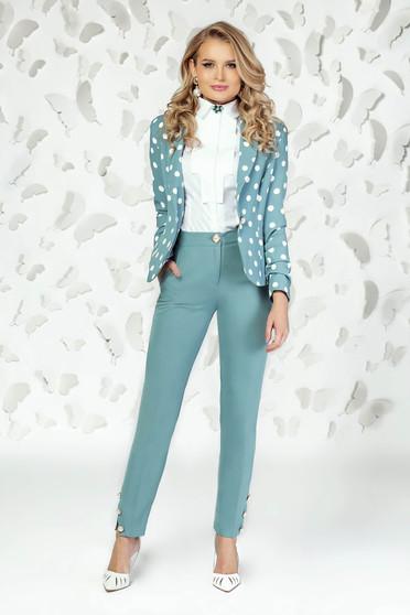 Pantaloni PrettyGirl turcoaz eleganti cu croi drept cu talie medie si buzunare