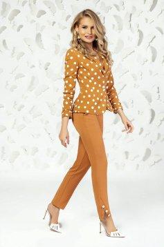 Mustard trousers elegant straight medium waist with pockets