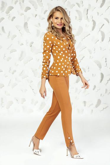 Pantaloni PrettyGirl mustarii eleganti cu croi drept cu talie medie si buzunare